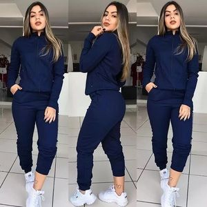 Navy Blue Jogger and Zip Up Jacket Set